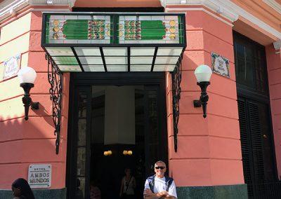 Outside Hemingway's favorite hotel in Havana